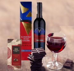 Barolo Chinato Wine and Extra Dark Chocolate Gift Basket