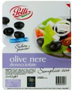 Black Pitted Olive in tray Polli