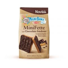 Mulino Bianco wholemeal biscuit with one side covered with dark chocolate