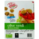 Green Pitted Olives in tray Polli